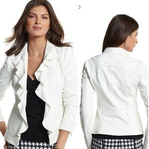 White House Black Market ruffle ponte jacket